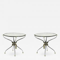 Gilbert Poillerat Gilbert Poillerat pair of wrought iron coffee table with mirror top - 831054