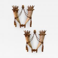 Gilbert Poillerat Gilbert Poillerat rarest defined pair of wrought iron patinated sconces - 1482094