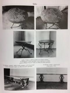 Gilbert Poillerat Gilt Iron and Stone Table - 596651
