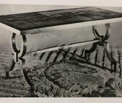 Gilbert Poillerat Gilt Iron and Stone Table - 596662