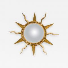 Gilbert Poillerat Gilt Wrought Iron Starburst Convex Mirror - 444631
