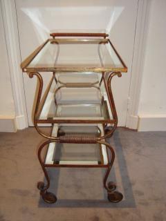 Gilbert Poillerat Gilt iron trolley with three tops - 996087