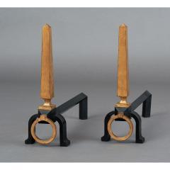 Gilbert Poillerat Pair of Gilbert Poillerat Wrought Iron Andirons France 1950s - 1334962