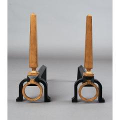 Gilbert Poillerat Pair of Gilbert Poillerat Wrought Iron Andirons France 1950s - 1334963