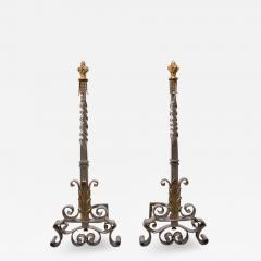 Gilbert Poillerat Spectacular Pair of Andirons Attributed to Gilbert Poillerat - 335320