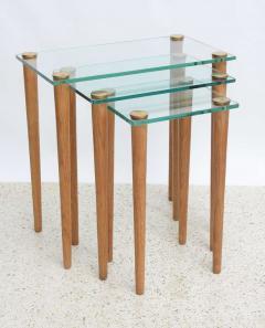 Gilbert Rohde American Modern Set of Walnut Brass and Glass Nesting Tables Gilbert Rohde - 44986