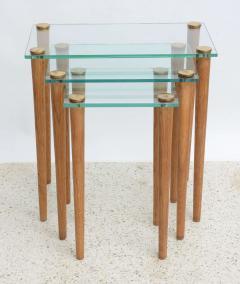 Gilbert Rohde American Modern Set of Walnut Brass and Glass Nesting Tables Gilbert Rohde - 44987