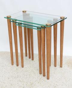 Gilbert Rohde American Modern Set of Walnut Brass and Glass Nesting Tables Gilbert Rohde - 44988