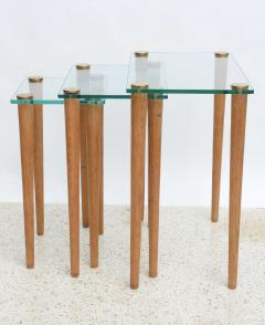Gilbert Rohde American Modern Set Of Walnut Brass And Glass Nesting Tables  Gilbert Rohde   44989