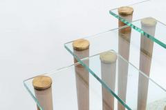 Gilbert Rohde American Modern Set of Walnut Brass and Glass Nesting Tables Gilbert Rohde - 44992