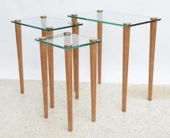 Gilbert Rohde American Modern Set of Walnut Brass and Glass Nesting Tables Gilbert Rohde - 44993