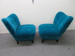 Gilbert Rohde Excellent Pair of Gilbert Rohde Style Mohair Slipper Chairs Mid Century Modern - 1684837