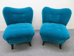 Gilbert Rohde Excellent Pair of Gilbert Rohde Style Mohair Slipper Chairs Mid Century Modern - 1684839