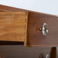 Gilbert Rohde Gilbert Rohde Elegant Sapele High Dresser Chest Lucite Pulls Flared Legs 1940s - 2018562