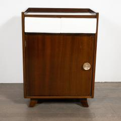 Gilbert Rohde Pair of Art Deco Bookmatched Mahogany and Leather Nightstands by Gilbert Rohde - 1485156