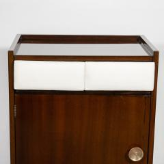 Gilbert Rohde Pair of Art Deco Bookmatched Mahogany and Leather Nightstands by Gilbert Rohde - 1485157