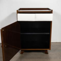 Gilbert Rohde Pair of Art Deco Bookmatched Mahogany and Leather Nightstands by Gilbert Rohde - 1485158