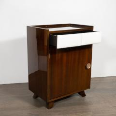 Gilbert Rohde Pair of Art Deco Bookmatched Mahogany and Leather Nightstands by Gilbert Rohde - 1485159
