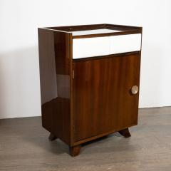 Gilbert Rohde Pair of Art Deco Bookmatched Mahogany and Leather Nightstands by Gilbert Rohde - 1485160