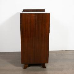 Gilbert Rohde Pair of Art Deco Bookmatched Mahogany and Leather Nightstands by Gilbert Rohde - 1485163