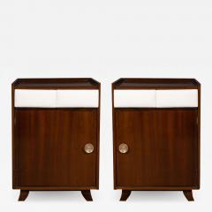 Gilbert Rohde Pair of Art Deco Bookmatched Mahogany and Leather Nightstands by Gilbert Rohde - 1486391