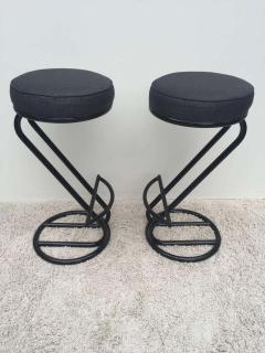 Gilbert Rohde Pair of Gilbert Rohde Z Style Bar Stools Black Enamel - 1823780