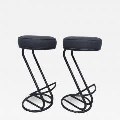 Gilbert Rohde Pair of Gilbert Rohde Z Style Bar Stools Black Enamel - 1825689