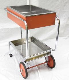 Gilbert Rohde Rolling Chrome Bar Cart Gilbert Rohde for Troy Sunshade Art Deco circa 1933 - 731434