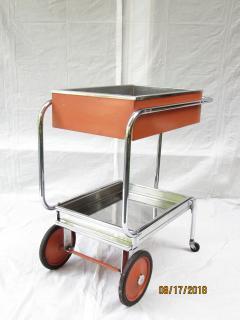 Gilbert Rohde Rolling Chrome Bar Cart Gilbert Rohde for Troy Sunshade Art Deco circa 1933 - 731437