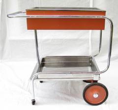 Gilbert Rohde Rolling Chrome Bar Cart Gilbert Rohde for Troy Sunshade Art Deco circa 1933 - 731438