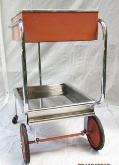 Gilbert Rohde Rolling Chrome Bar Cart Gilbert Rohde for Troy Sunshade Art Deco circa 1933 - 731445