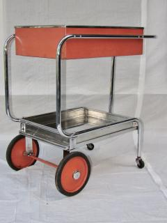 Gilbert Rohde Rolling Chrome Bar Cart Gilbert Rohde for Troy Sunshade Art Deco circa 1933 - 731448