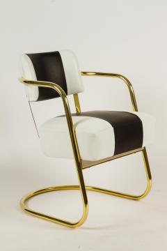 Gilbert Rohde Set Of Six Art Deco Chairs In Brass And Leather   334321