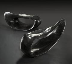 Gildas Berthelot Pair of Sculpted Benches in Ebonized Maple Signed by Gildas Berthelot - 1160099