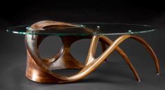 Gildas Berthelot Sculpted Black Walnut Coffee Table Signed by Gildas Berthelot - 1160135