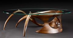 Gildas Berthelot Sculpted Black Walnut Coffee Table Signed by Gildas Berthelot - 1160136