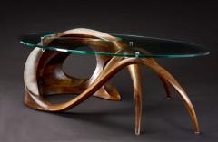 Gildas Berthelot Sculpted Black Walnut Coffee Table Signed by Gildas Berthelot - 1160137