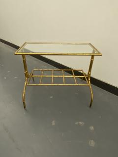 Gilded Wrought Iron Two Tier Table With Glass Top - 1166970