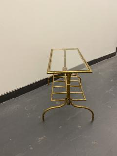 Gilded Wrought Iron Two Tier Table With Glass Top - 1166971