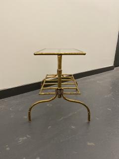 Gilded Wrought Iron Two Tier Table With Glass Top - 1166972