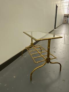 Gilded Wrought Iron Two Tier Table With Glass Top - 1166973