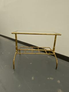 Gilded Wrought Iron Two Tier Table With Glass Top - 1166975