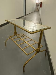 Gilded Wrought Iron Two Tier Table With Glass Top - 1166976