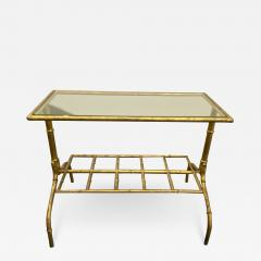 Gilded Wrought Iron Two Tier Table With Glass Top - 1167688