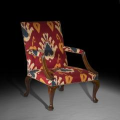Giles Grendey English 18th Century Walnut Armchair in Ikat Fabric - 946622
