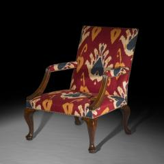 Giles Grendey English 18th Century Walnut Armchair in Ikat Fabric - 946624
