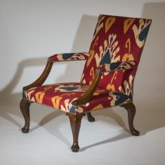Giles Grendey English 18th Century Walnut Armchair in Ikat Fabric - 946625