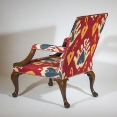 Giles Grendey English 18th Century Walnut Armchair in Ikat Fabric - 946626