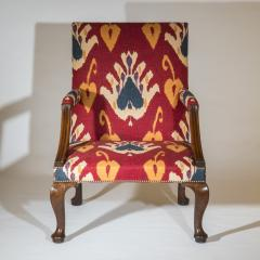 Giles Grendey English 18th Century Walnut Armchair in Ikat Fabric - 946628