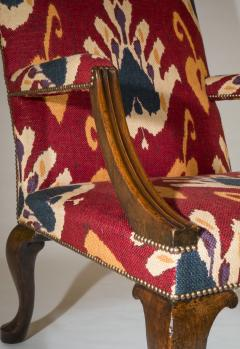 Giles Grendey English 18th Century Walnut Armchair in Ikat Fabric - 946635
